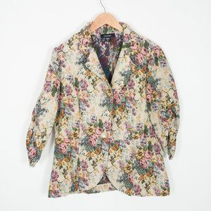 Karen Kane Floral Tapestry Gathered Sleeve Blazer